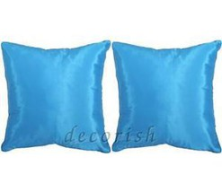 SET 2 Silk Decorative Pillow Covers Cushions Solid BLUE - $9.60