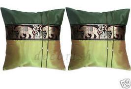 2x LIGHT GREEN SILK DECORATIVE PILLOWS COVERS ELEPHANTS - $9.94