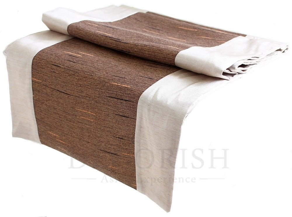 Ivory brown stripe rectangular silk decorative bed table for 120 inches table runner