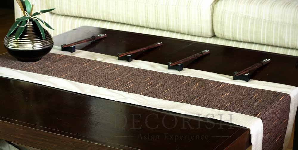Ivory brown stripe rectangular silk decorative bed table for 120 table runners
