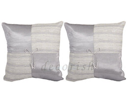 2x SILK THROW COUCH BED DECORATIVE THROW PILLOW CASES 16x16 CUSHIONS SIL... - $9.94