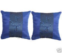 2 BLUE Floral Silk THROW DECORATIVE CUSHION COVERS Set - $9.60