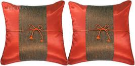 2x Silk Sofa Couch Throw Decorative PillowCases 16x16 Cushions Burnt Ora... - $10.57