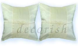 2 Silk Cream Couch Bed Decorative Pilow Covers Cushions - $8.68