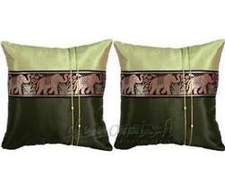 2x GREEN Silk Decorative PILLOW CASES Elephants Set NEW - $10.57