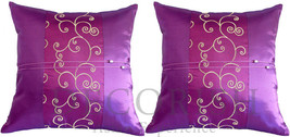 2 PURPLE VIOLET EMBROIDERED Silk Sofa Couch Throw Decorative Pillow Cove... - $9.94