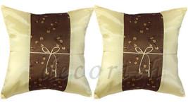 2x Silk Throw Decorative Accent Pillow Cases 16x16 Cushion Covers CREAM ... - $9.94