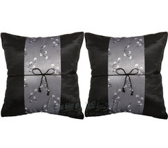 2x BLACK FLORAL SILK COUCH BED DECORATIVE THROW PILLOW CASES 16x16 CUSHI... - $10.57