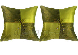 2 Silk Sofa Bed Decorative Pillow Cases 16x16 Cushions Covers Lime Green... - $10.57