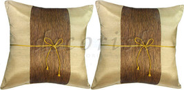 SET 2 VEGAS GOLD SILK SOFA BED DECORATIVE THROW CUSHION COVERS PILLOWS C... - $9.94