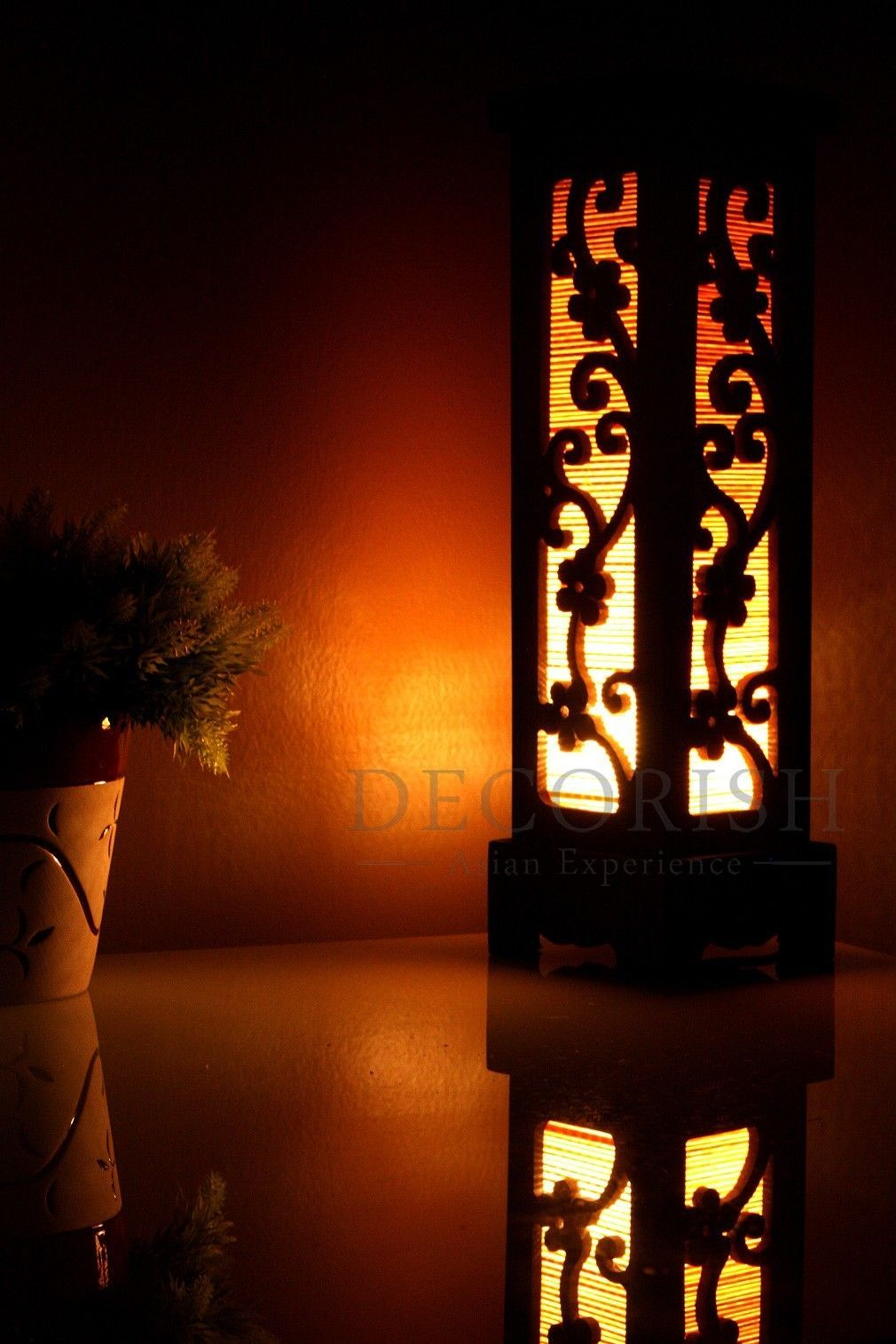 carved wood electric lantern table lamp cherry blossom small lamps