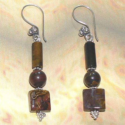 Sterling Silver Tiger Eye, Tiger Iron and Pietersite Earring