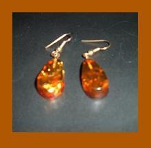 Amber teardrop fish hook earrings 1