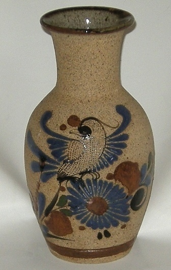 Mexican Pottery Cobalt Hand Painted Sand Finish Bird Vase