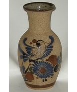 Mexican Pottery Cobalt Hand Painted Sand Finish Bird Vase - $15.00