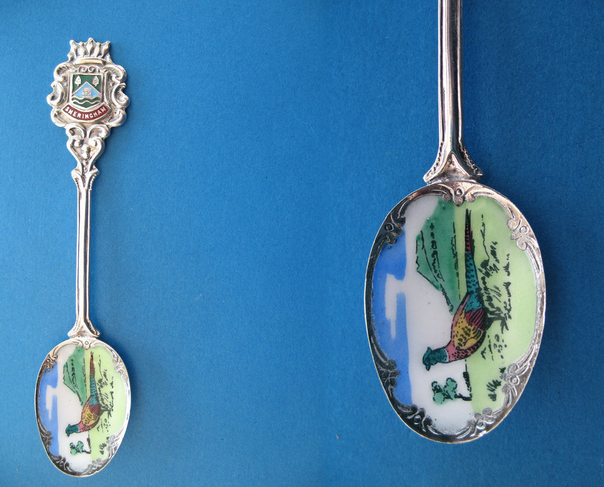 SHERINGHAM Norfolk ENGLAND Souvenir Collector Spoon ENAMEL Collectible PHEASANT