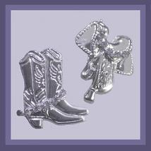 Cowboy Boot & Saddle Rhinestone Silver Chandelier Earrings - $29.99