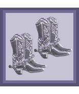 Rodeo Cowboy Boots Rhinestone Silver Chandelier Earrings - $29.99