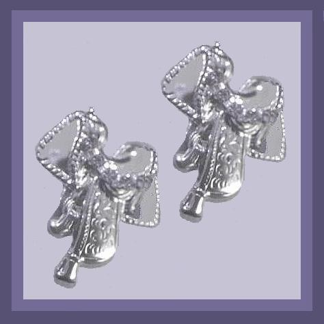 Primary image for Rodeo Cowboy Saddle Rhinestone Silver Chandelier Earrings
