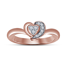 Women's 14k Rose Gold Finish 925 Silver Round Cut Sim Diamond Heart Shape Ring - $49.80