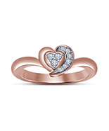 Women's 14k Rose Gold Finish 925 Silver Round Cut Sim Diamond Heart Shap... - $49.80