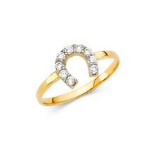 14K Solid Gold Horse Shoe Cubic Zirconia Fancy Ring - £84.21 GBP