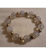 Beaded Fashion Stretch Bracelet Gold Tone & Cloudy White Beads Mint - $7.00