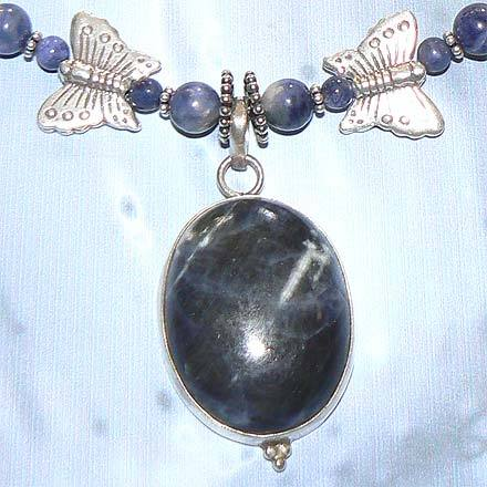 Sterling Silver Sodalite Butterfly Motif Necklace