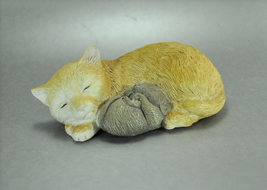 Kitten Cat Curled Cuddling with Sleeping Mouse Figurine - $8.00