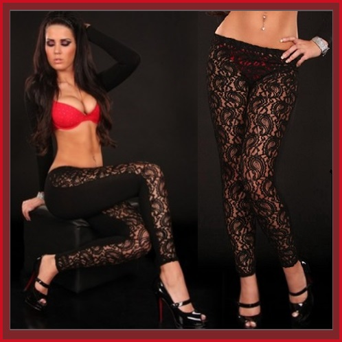 Black Transparent Lace Front Faux PU Leather Back Low Waist  Leggings