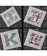 Alphabet Ornaments Three  I-J-K-L cross stitch chart Drawn Thread - $9.00