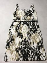 T Tahari Womens 12 Black Tan White Watercolor Animal Print Dress Belted - $27.99