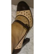 Guess By Marciano Retro Pin Up Women Sz 5 Brown Beige Mary Jane Sexy Pum... - $34.64