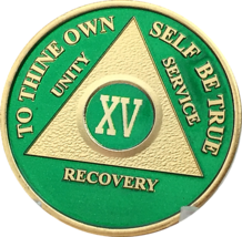 15 Year AA Medallion Green Gold Plated Alcoholics Anonymous Sobriety Chi... - $20.39