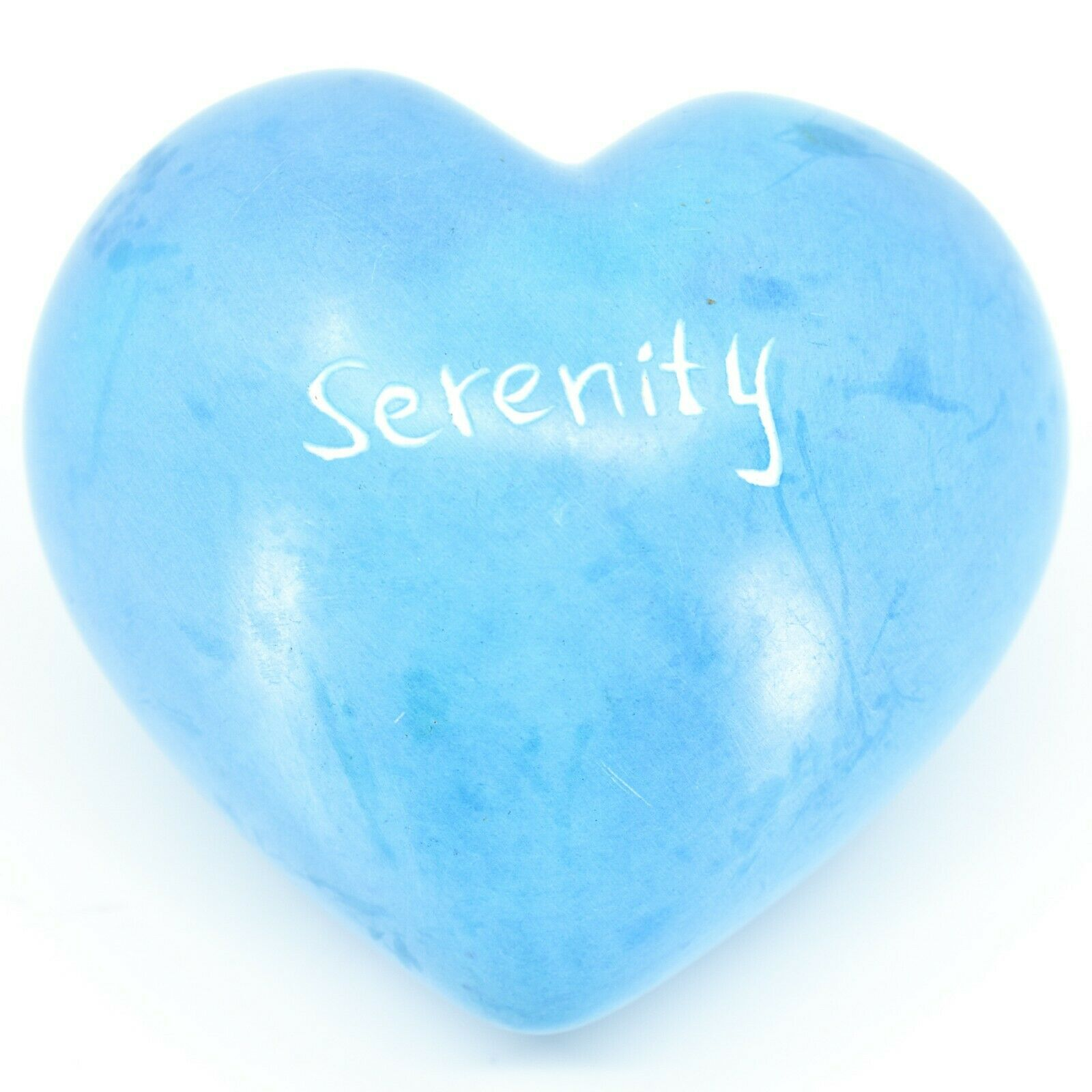 """Vaneal Group Hand Carved Soapstone 2-Sided """"Serenity"""" Sky Blue Heart Paperweight"""