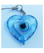 Spinning transparent heart Mobile phone strap evil eye protection from I... - £1.76 GBP