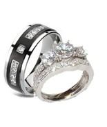 3 pc His Hers Wedding Rings Sterling Silver Cz ... - $59.99