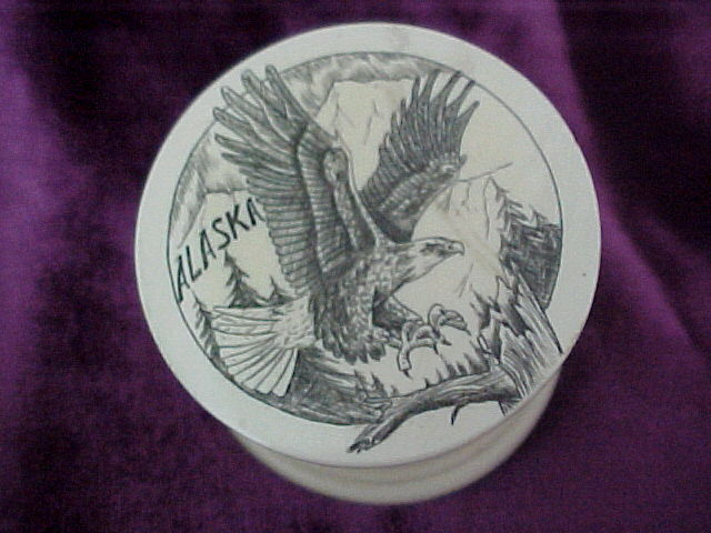 ALASKA  ETCHED EAGLE PILL BOX