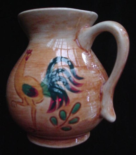 Old Pennsbury Art Pottery Country Rooster Pitcher Cream