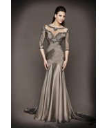 Sexy 3/4 Long Sleeve Beaded  Neck Gray Satin Mother Of the Bride Dress M... - $157.99