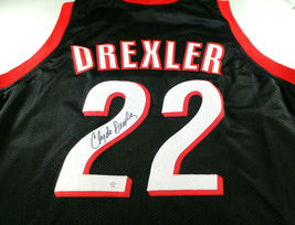CLYDE DREXLER / NBA HALL OF FAME / AUTOGRAPHED TRAIL BLAZERS CUSTOM JERSEY / COA image 1