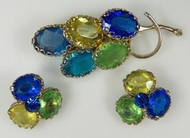 Vintage BLUE & GREEN GLASS STONE Brooch Clip Earrings Set Gorgeous Juliana - $47.17