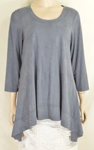 Boho Chic top tunic SZ M gray blue soft faux suede asymmetrical 3/4 slee... - $49.49