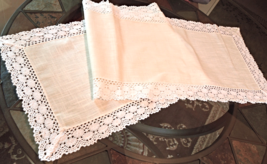 "Vintage Table Runner -  Linen Runner- Floral Damask IVORY 13 1/2"" x 40"" #4621 - $14.99"