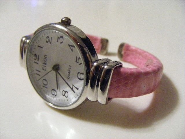 Primary image for EIKON LARGE FACE BRIGHT PINK  SNAKESKIN LEATHER  NARROW CUFF BAND  WATCH