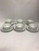 6 Tea coffee CUP SAUCER  Mid Century Modern NORITAKE Stanton 5407 silver... - $59.39