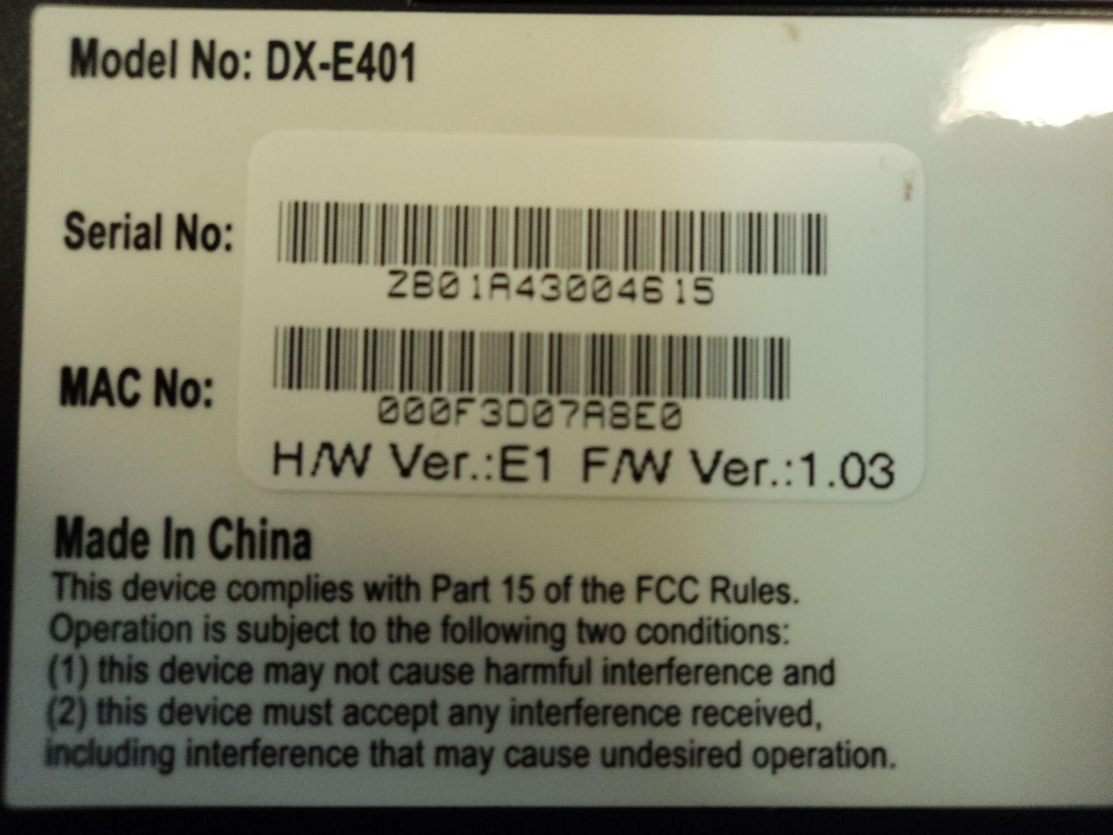 Dynex 4 Port Network Ethernet Broadband Router 10/100 MBPS DX-E401