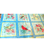 """Bird Themed Fabric Remnant Square Pattern  Size approx 35""""x52"""" Reclaimed... - $4.79"""