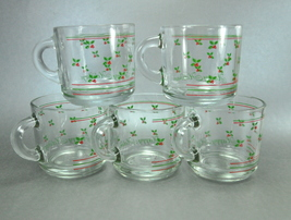 Anchor Hocking Happy Holidays Set 5 Glass Holly Flat Mugs Cups - $12.50