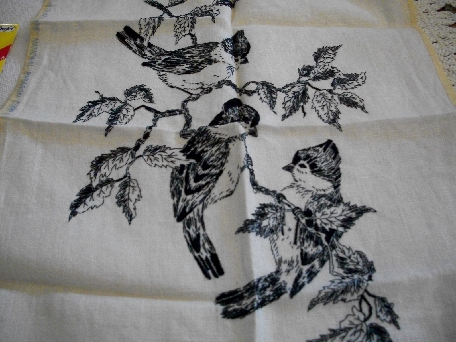 Jay Birds Stamped Design on Linen for Crewel Embroidery  - $15.00